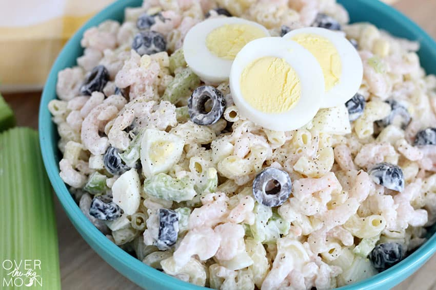 Easy Shrimp and Macaroni Salad that is perfect for a side dish, BBQ or Potluck dinner! From overthebigmoon.com!
