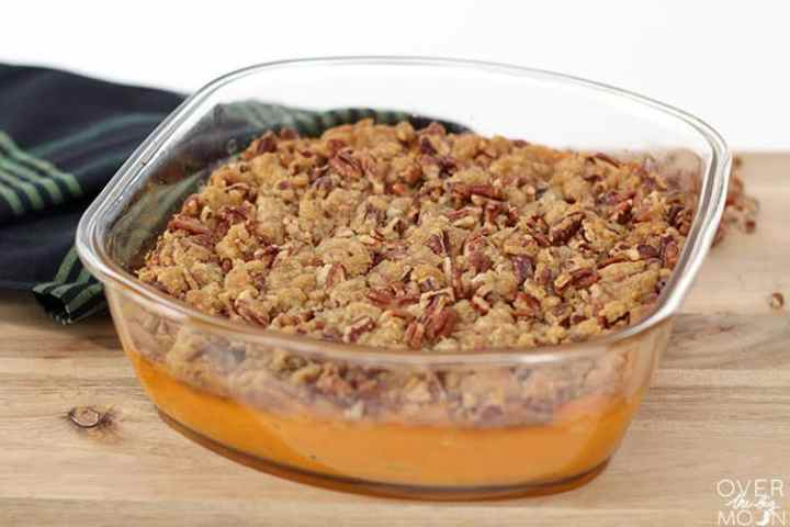This Sweet Potato Casserole is the most popular side every year at Thanksgiving! From overthebigmoon.com!