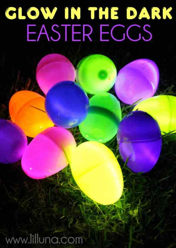 Glow in the Dark Easter Eggs and 10+ other fun Easter Egg Hunt Ideas! From overthebigmoon.com!