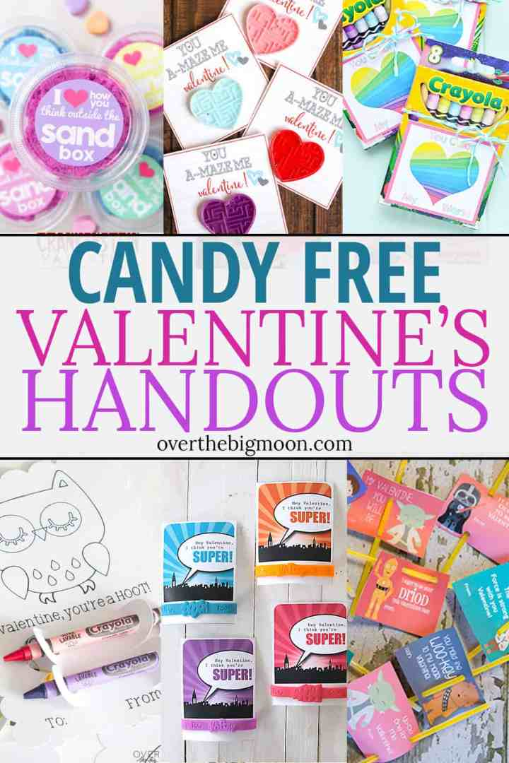 These Candy Free Valentine's Handouts are fantastic and such a great option for kiddos wanting to go candy free! From overthebigmoon.com!