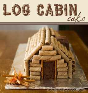 Blue and Gold Log Cabin Cake