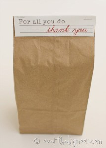 Teacher Appreciation Brown Bag Topper