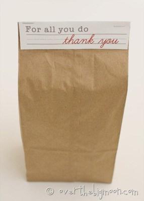Teacher Appreciation Brown Bag Topper
