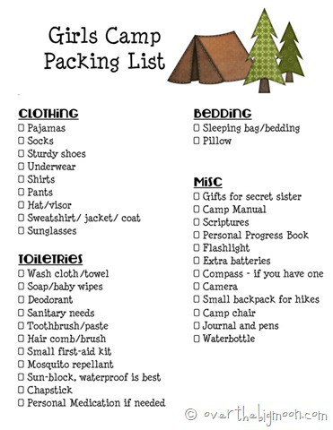 Girls Camp Packing List