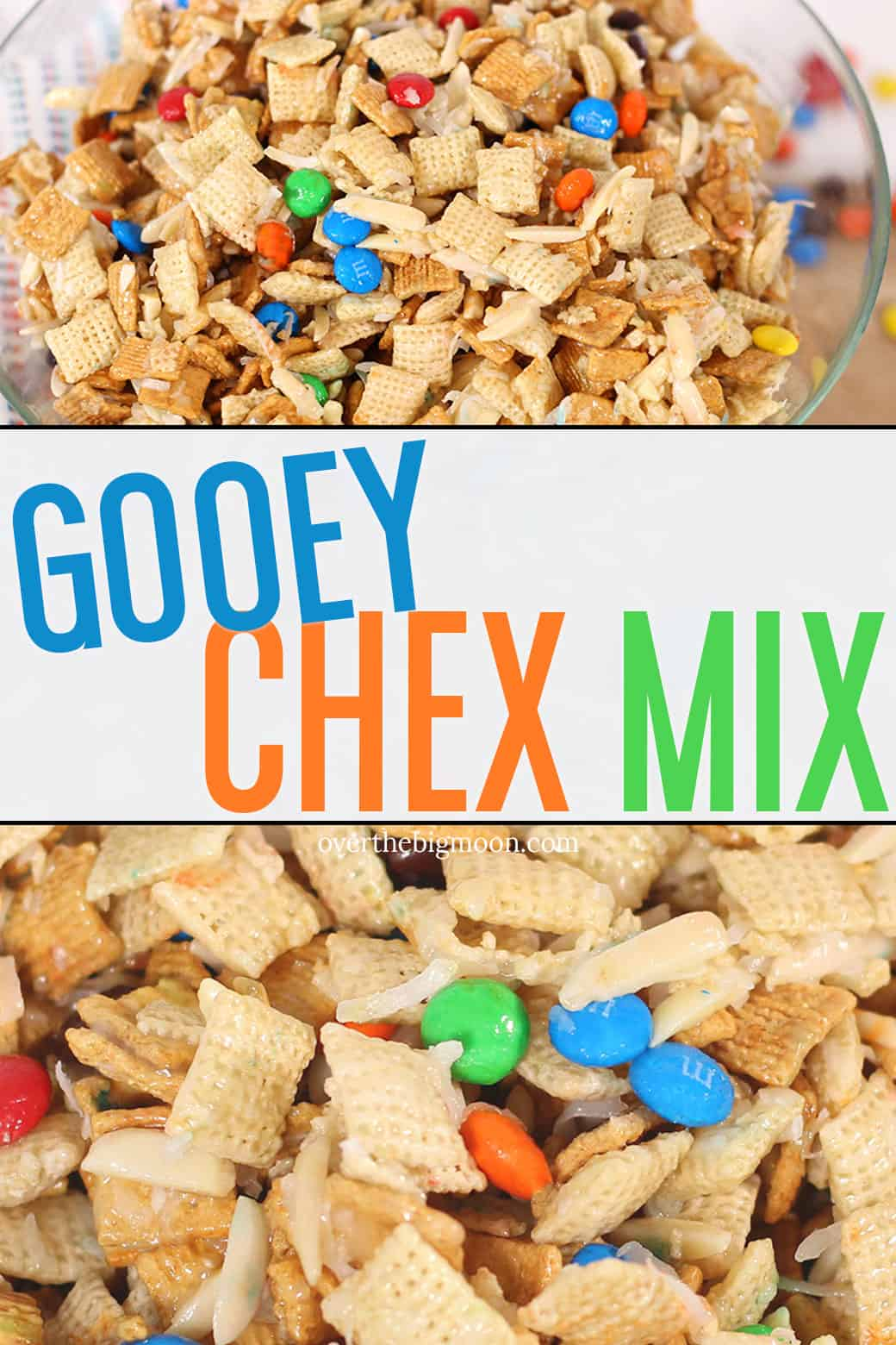 This Gooey Chex Mix is the perfect treat -- filled with Chex, Golden Grahams, Cashews, M&M's and more! Everyone will love this! From overthebigmoon.com!