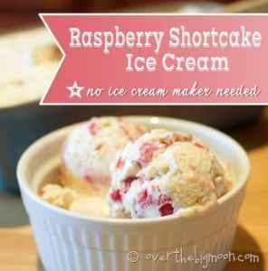 4 Ingredient Raspberry Shortcake Ice Cream - No Ice Cream Maker Needed!