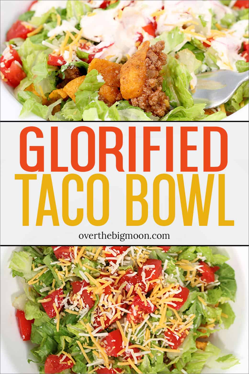 Glorified Taco Bowls are a family favorite dinner. This layered taco bowl contains Chili Cheese Fritos, a tangy hamburger mixture, lettuce, cheese tomatoes and more! From overthebigmoon.com!