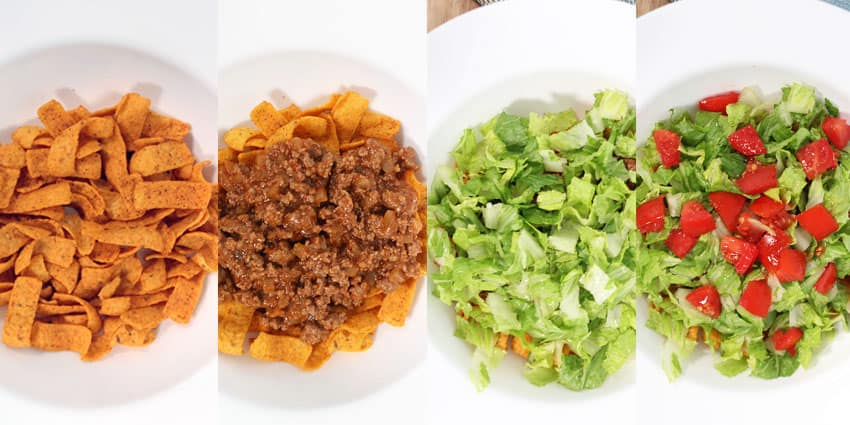 A step-by-step of the layers of this Glorified Taco Bowl!