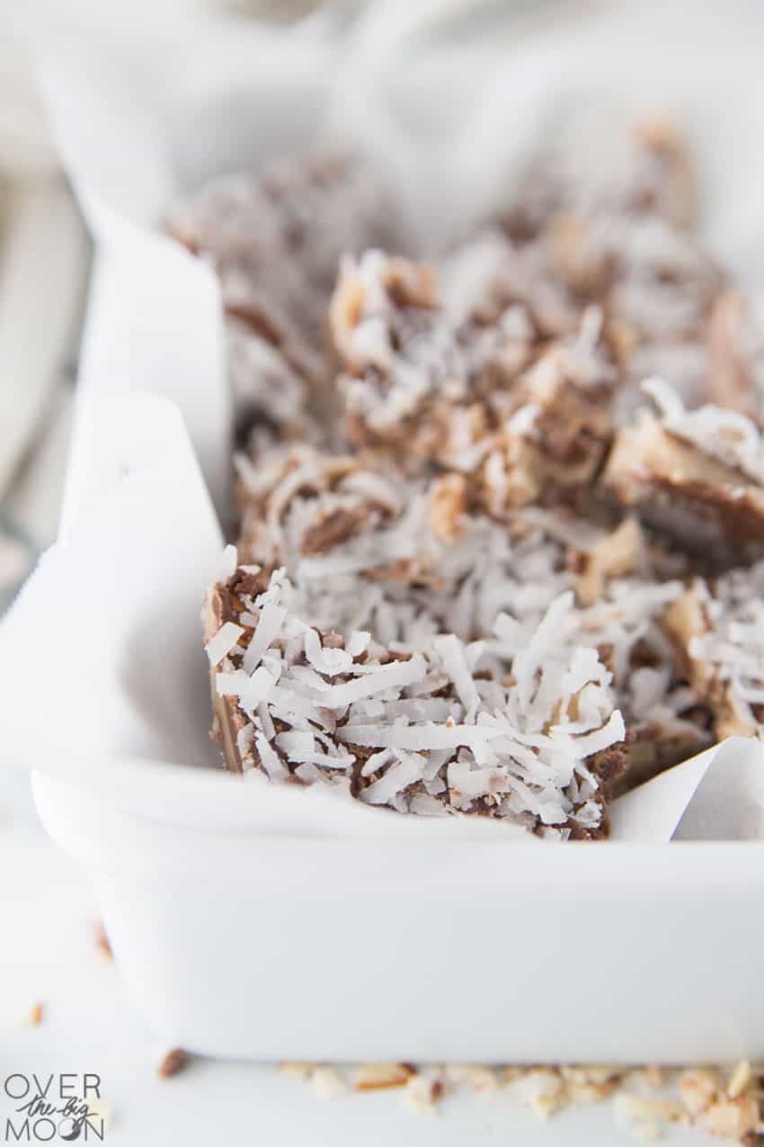 The best holiday treats- Almond Roca and Coconut Toffee! From overthebigmoon.com!