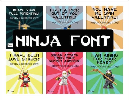 Ninja Font Ninjago Valentine's Printable - overthebigmoon.com!