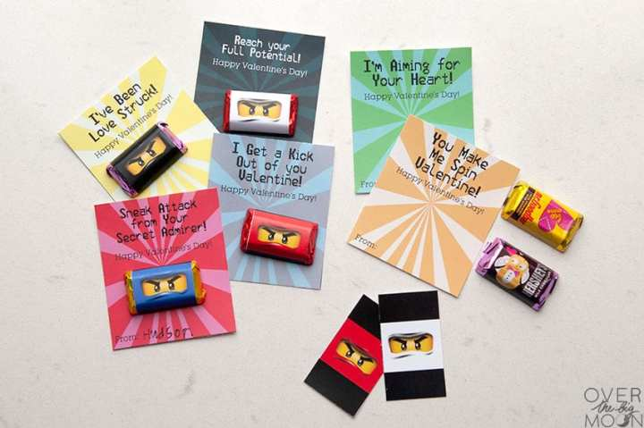 Ninjago Printable Valentine's with Mini Candy Bar Wrappers! From overthebigmoon.com!