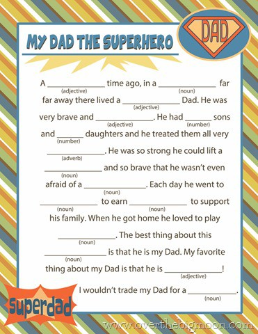 photo relating to Harry Potter Mad Libs Printable named Absolutely free Printable Fathers Working day Ridiculous Lib