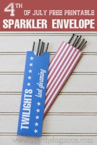 4th of July Sparkler Holder Printable