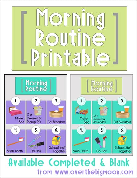 image relating to Morning Routine Printable known as Early morning Schedule Printables
