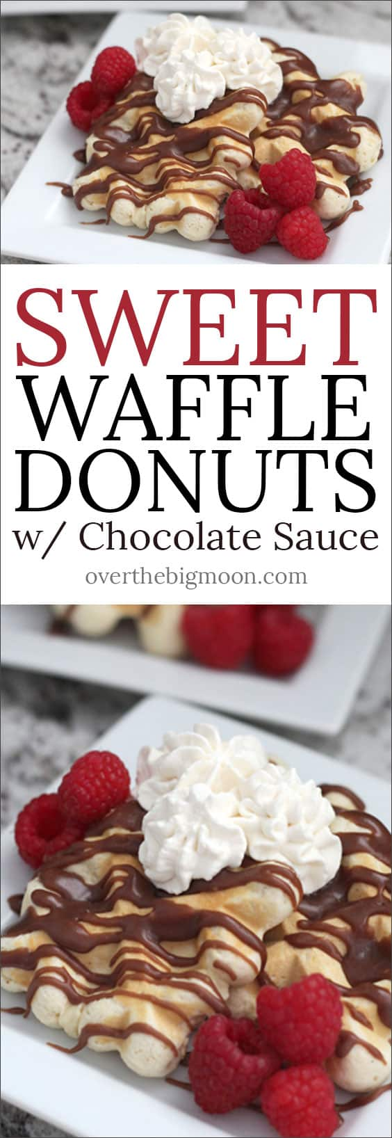 Sweet Waffle Donut w/ Chocolate Sauce - such a yummy breakfast that is basically impossible to mess up!! My whole family loves it!
