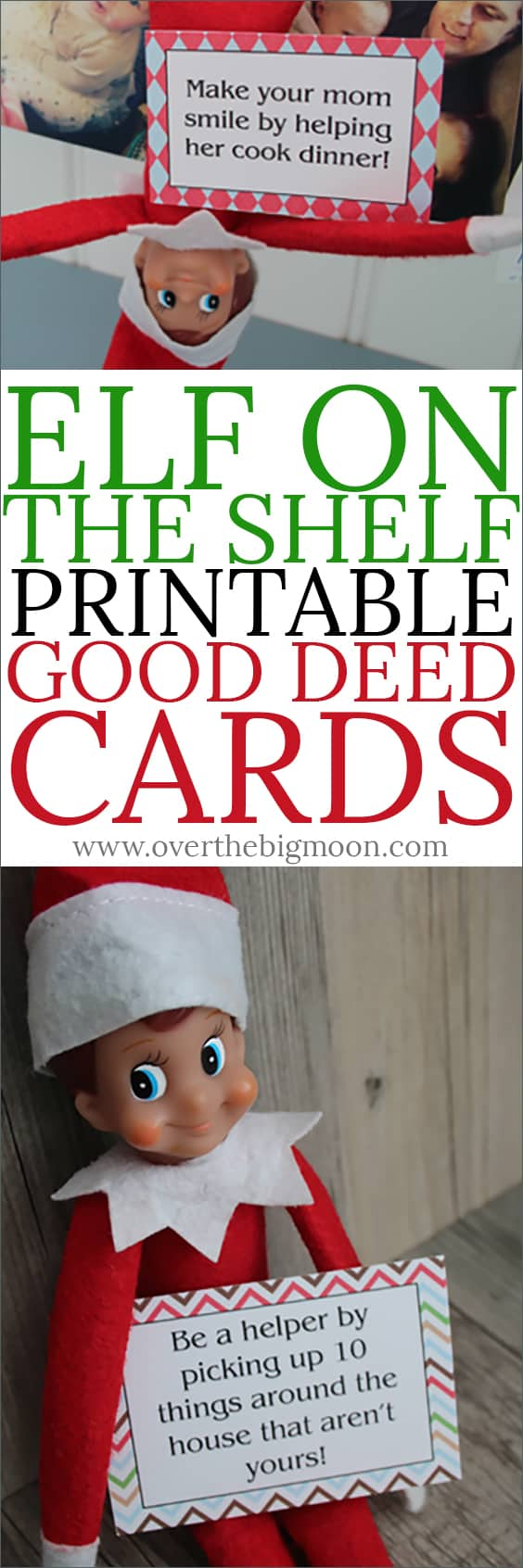Not all Elf's are naughty! These Good Deed cards are perfect to have your Elf encourage your littles to do some good deeds! Just download and print the cards! From overthebigmoon.com!