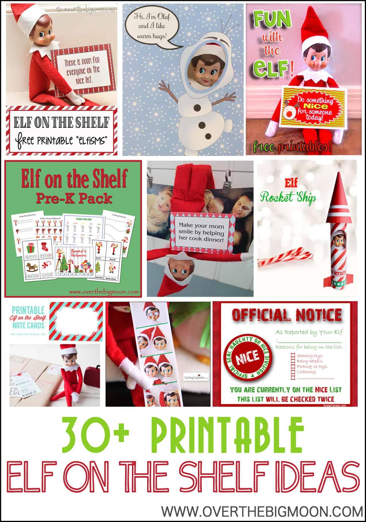 30 Printable Elf On The Shelf Ideas