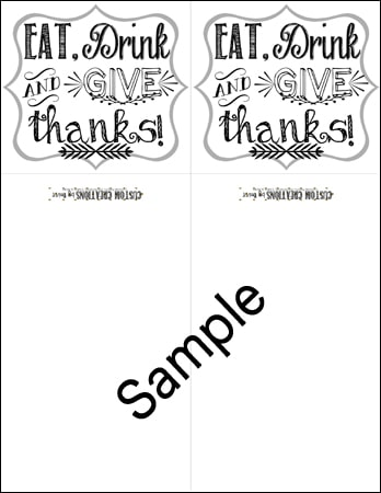 A preview of the Eat, Drink and Give Thanks Utensil Holders printable.
