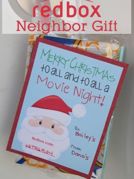 Cheap Neighbor Gift Idea - Redbox Neighbor Gift Idea! From www.overthebigmoon.com!