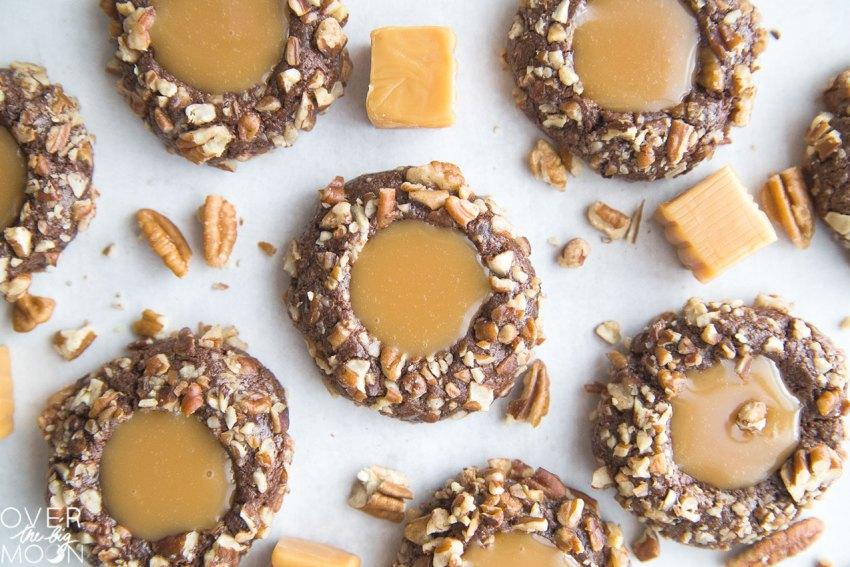 Pecan Chocolate Turtle Cookie - from overthebigmoon.com