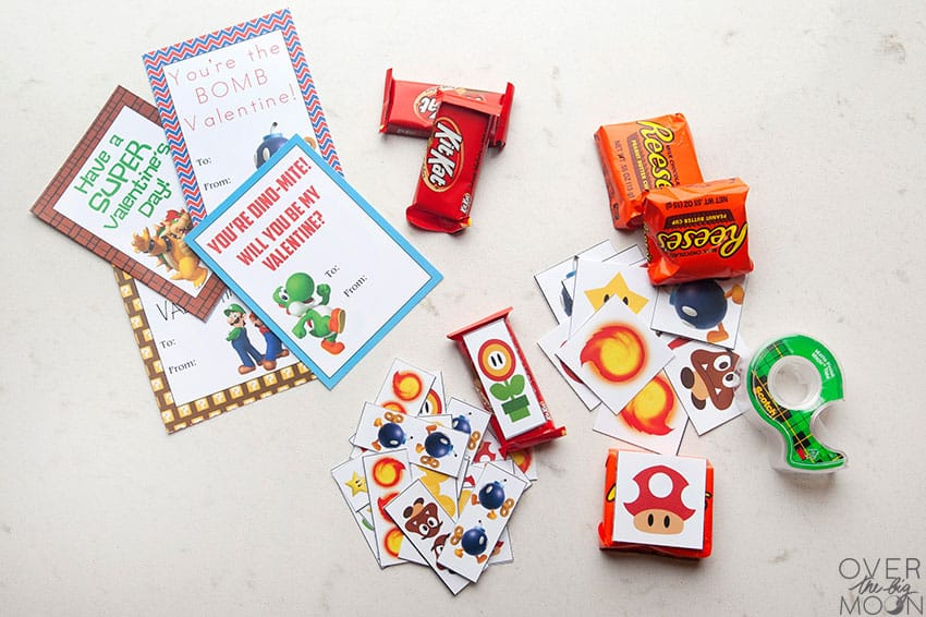 Attach Candy Toppers to candy for Super Mario Printable Valentine's! From overthebigmoon.com!