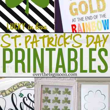 These St. Patrick's Day Printables are a simple and easy way to decorate for St.Patrick's Day! I've rounded up Shamrock. Lucky, Rainbows and more! Just print and frame! From overthebigmoon.com