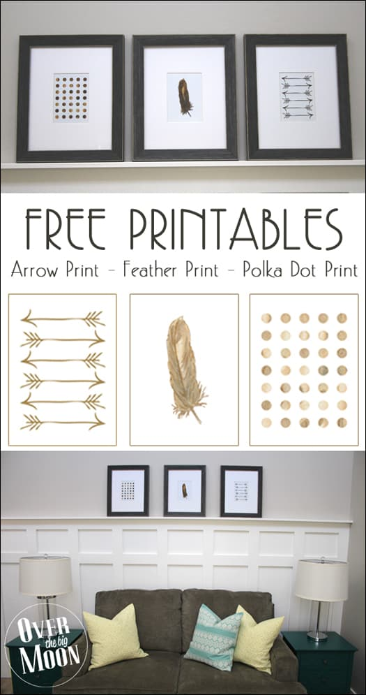Free Printables for the Home - Gold Arrows, Feather and Polka Dots! Available in 5x7 or 8x10! From overthebigmoon.com! #freeprintable #homedecor