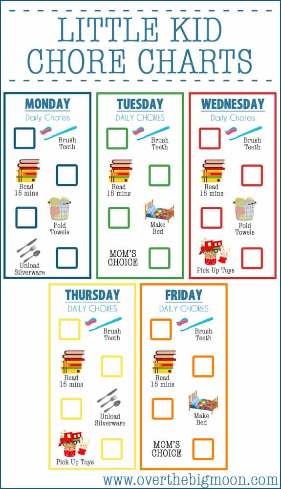 photo regarding Chore Charts Printable named Minor Child Chore Charts (Ages 2-4) In excess of The Large Moon