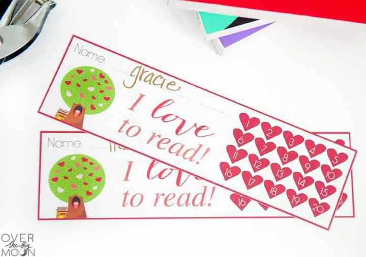Printable Heart Bookmarks -- punch progress!