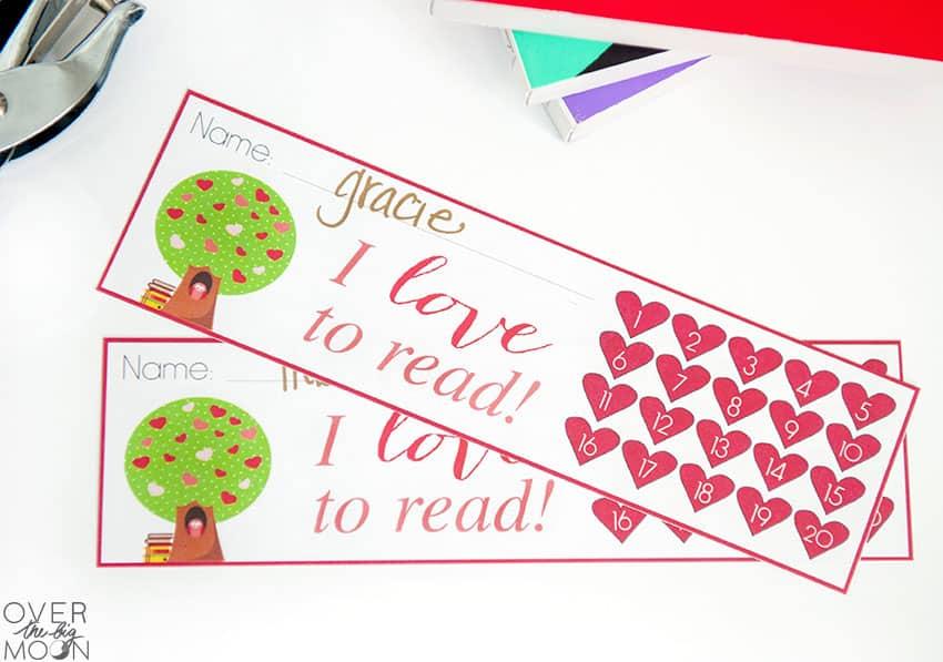Printable Heart Bookmarks -- punch progress!