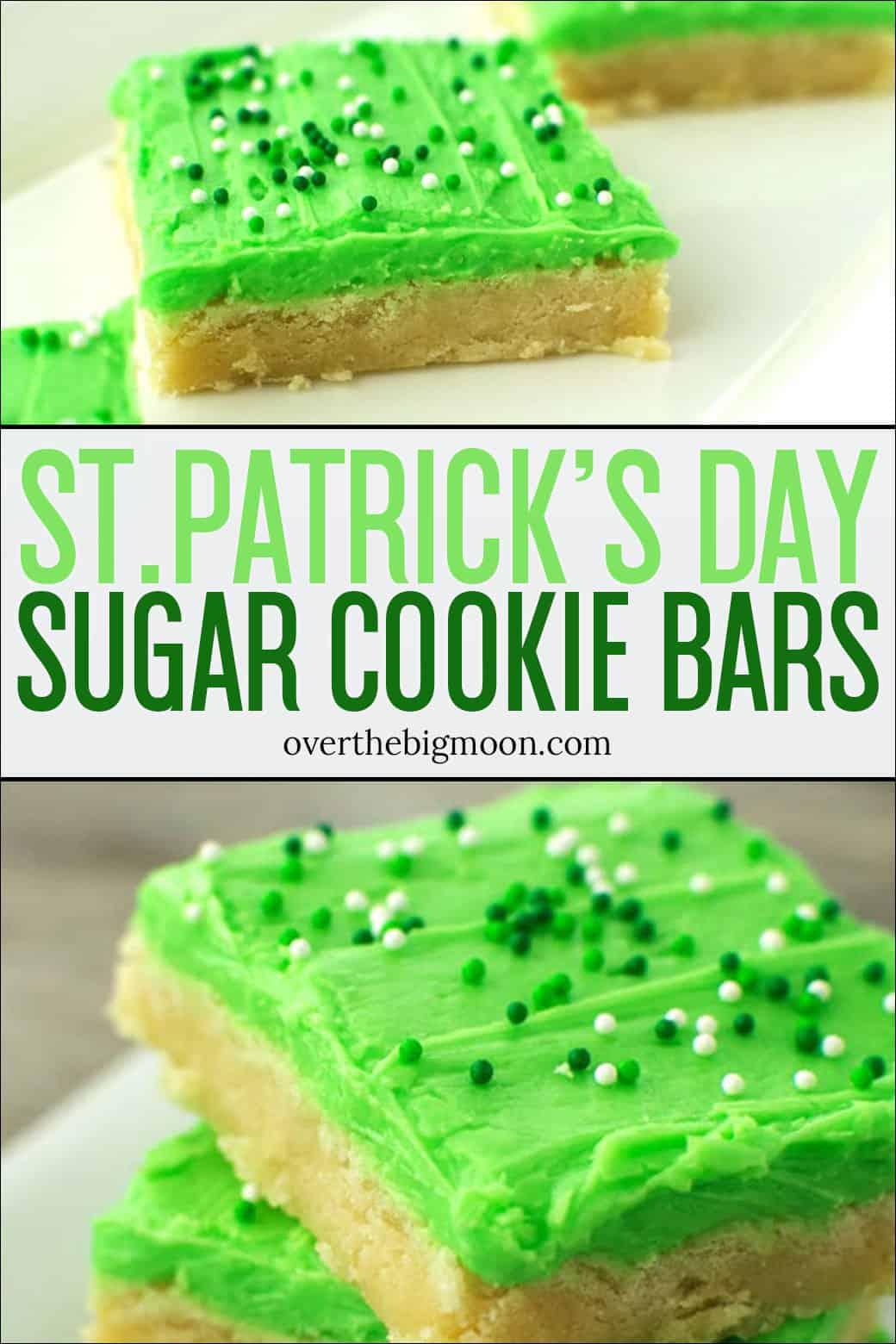 These St.Patrick's Day Sugar Cookie Bars are the perfect treat to help celebrate St.Patrick's Day! The sugar cookie bar is so delicious and has the best texture!