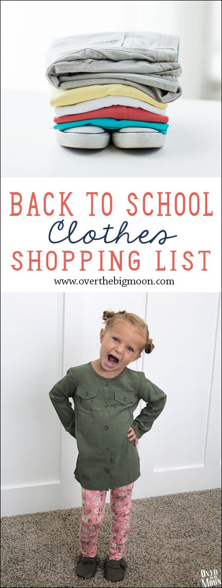Back to School Clothes Shopping List - what to get you elementary school kids to start off the year! | www.overthebigmoon.com
