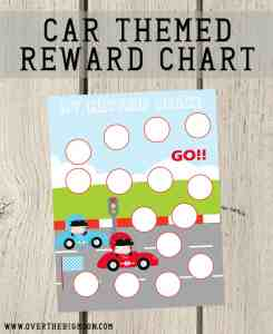 Cars Themed Reward Chart - this is a great way to motivate your littles! Plus, some fun ideas for rewards! From www.overthebigmoon.com!