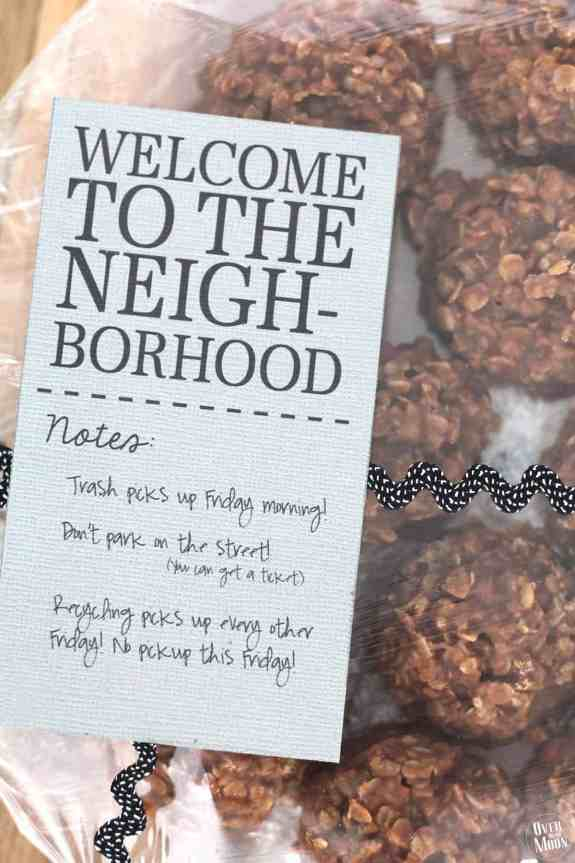 Perfect Peanut Butter No Bake Cookies with a Welcome New Neighbor Printable! From www.overthebigmoon.com!