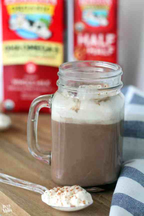 Creamy Homemade Hot Chocolate with Whipped Cream Spoons!! Bring on the cold weather! From www.overthebigmoon.com!