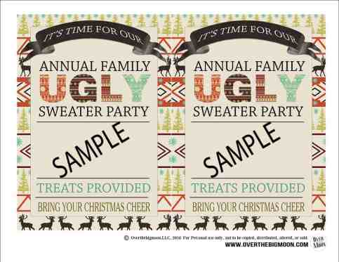 Family Ugly Sweater Party - with free printable invitation! From www.overthebigmoon.com!
