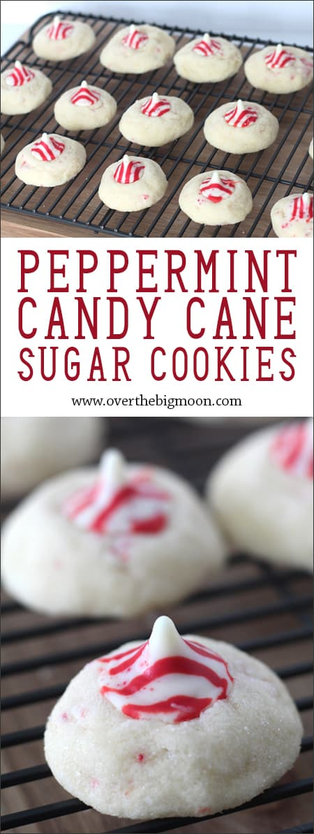 Peppermint Kiss Sugar Cookies - these are so easy and scream Christmas! From www.overthebigmoon.com!