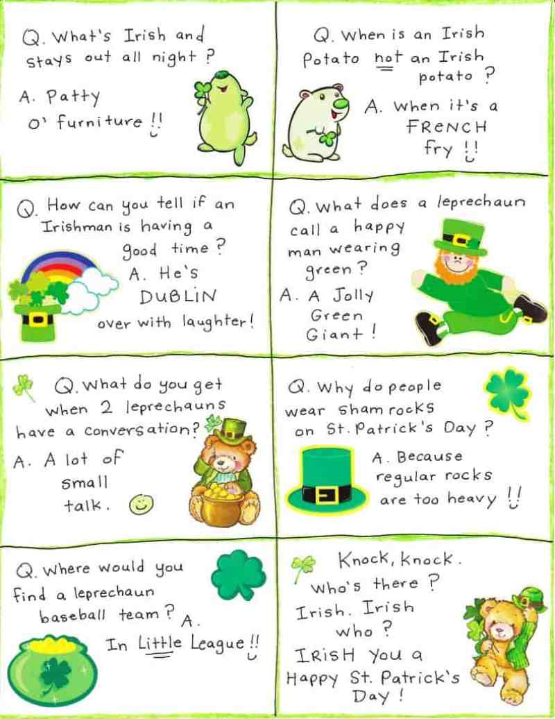 St. Patrick's Day Lunch Box Joke Cards that you can print and add to lunches during St. Patrick's Day!
