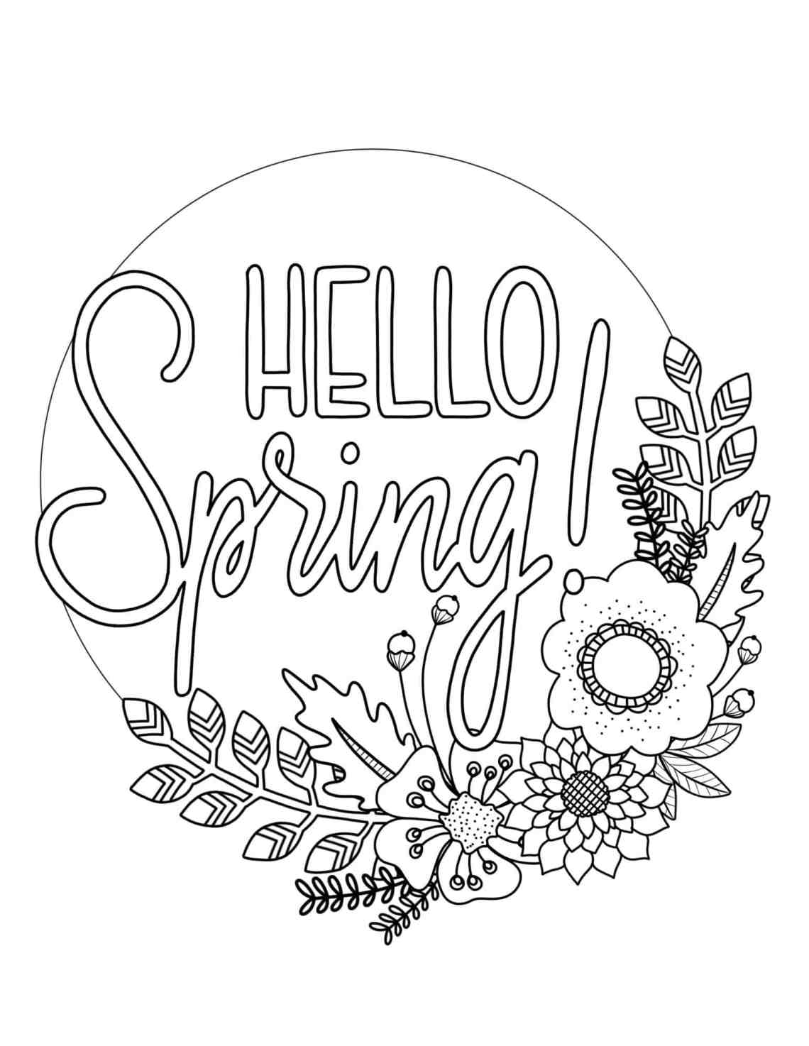 Printable Spring Coloring Page - Over The Big Moon | free printable spring coloring pages