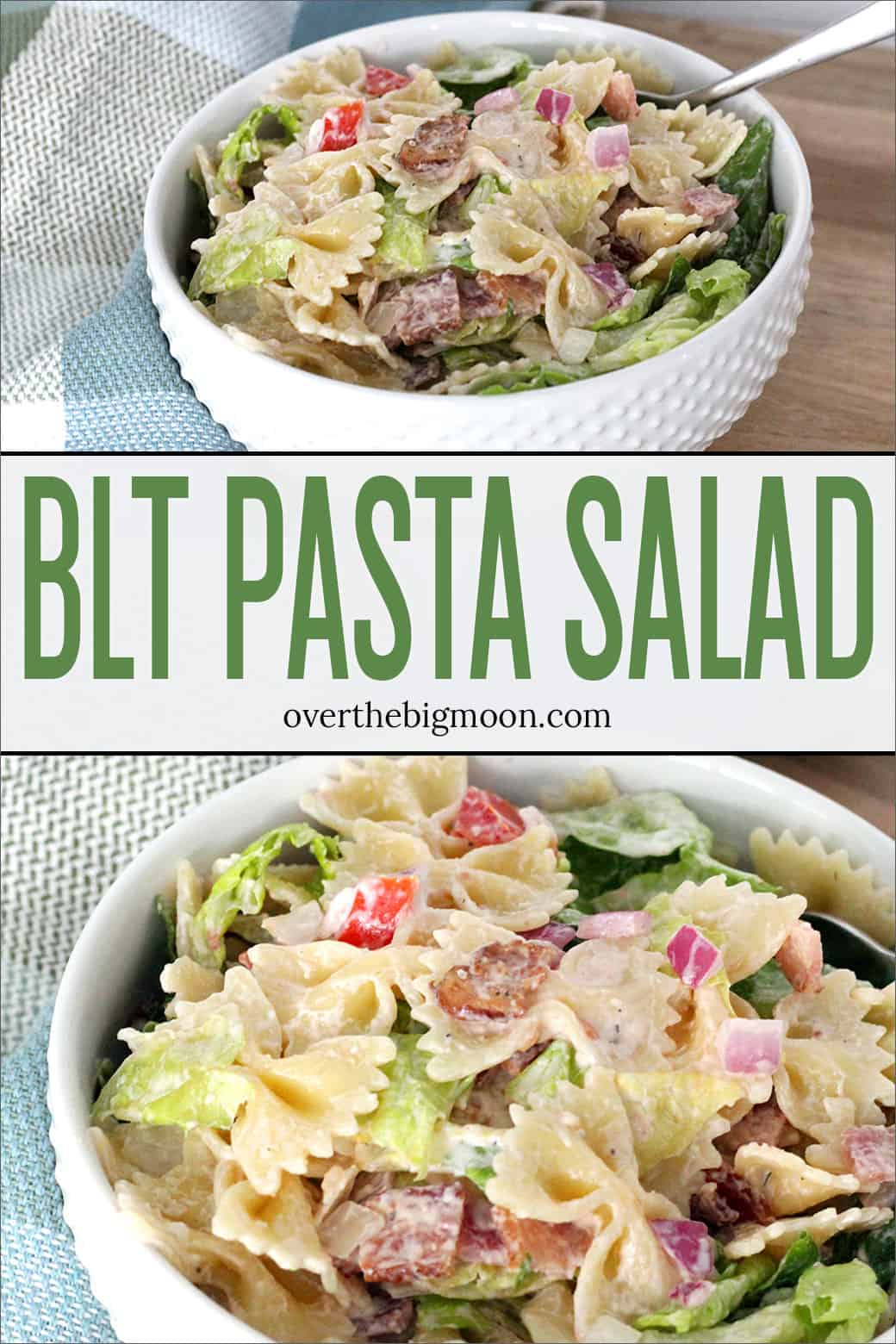 This BLT Pasta Salad is like a BLT Sandwich without the bread! It includes bacon, lettuce and tomato mixed in with bowtie noodles and lettuce topped with creamy ranch dressing. From overthebigmoon.com!
