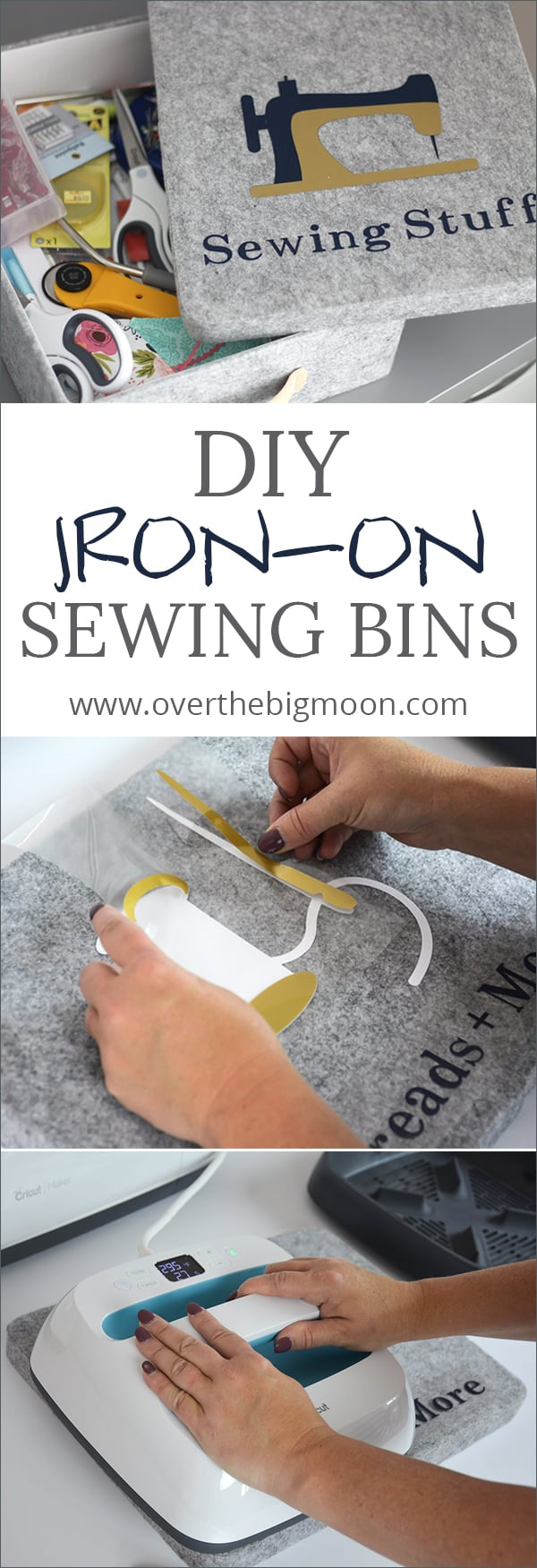 DIY Iron-On Sewing Bins - Love these Fabric Bins for organizing! You could customize them for anything and this tutorial for custom iron-ons is awesome! From www.overthebigmoon.com!