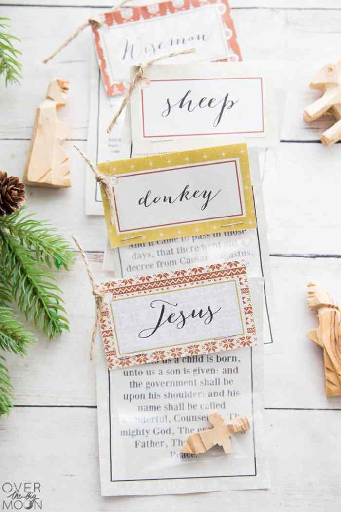 12 Days of Christmas Nativity Countdown with Printable bag toppers and scripture cards! From overthebigmoon.com!