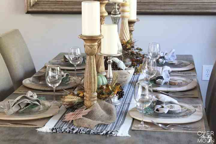 Nature inspired Thanksgiving Tablescape - a neutral color palette pair with greens is always a good choice! From www.overthebigmoon.com