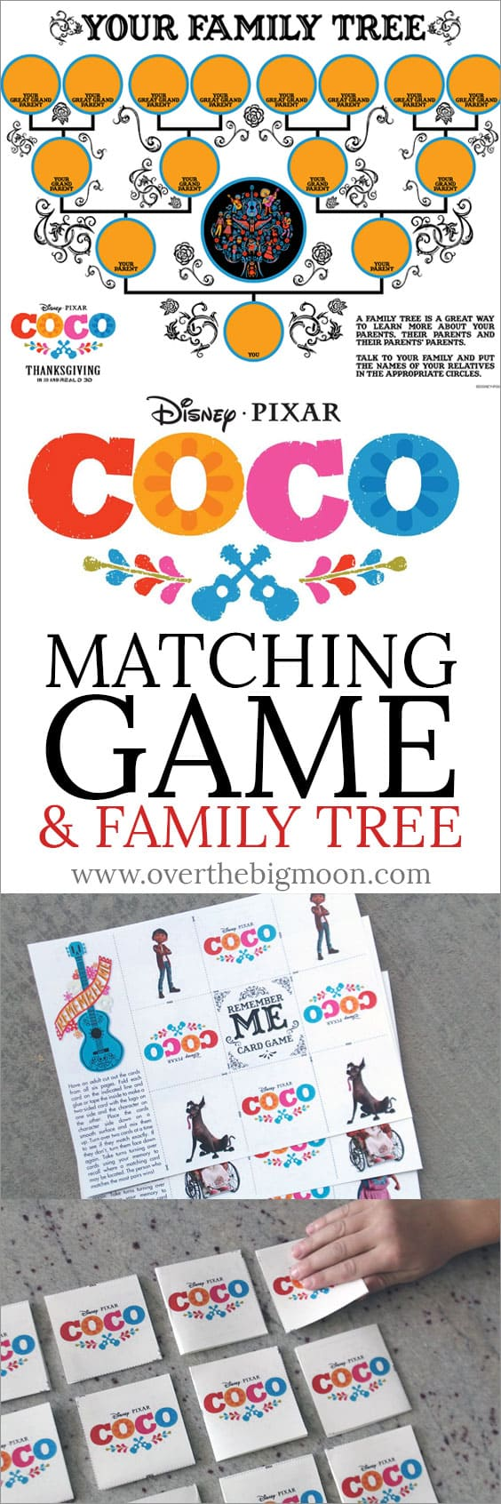 Disney Pixar Coco Matching Game, Family Tree and other kids printables and activities! From overthebigmoon.com!