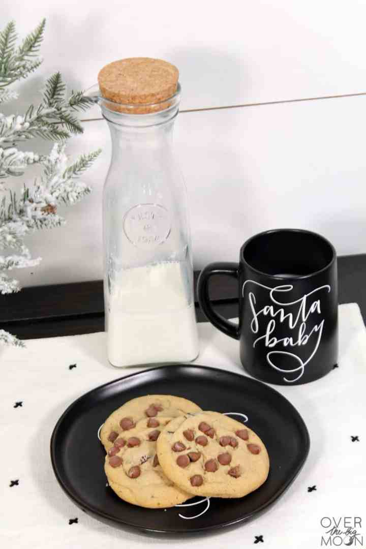 Cookies and milk for Santa never looked so good! Check out these cute Santa Baby dishes for Santa! From overthebigmoon.com!