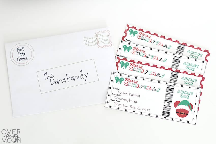 Printable Disneyland Tickets - Christmas themed! The perfect way to gift Disneyland or Disneyworld to your family! From overthebigmoon.com!