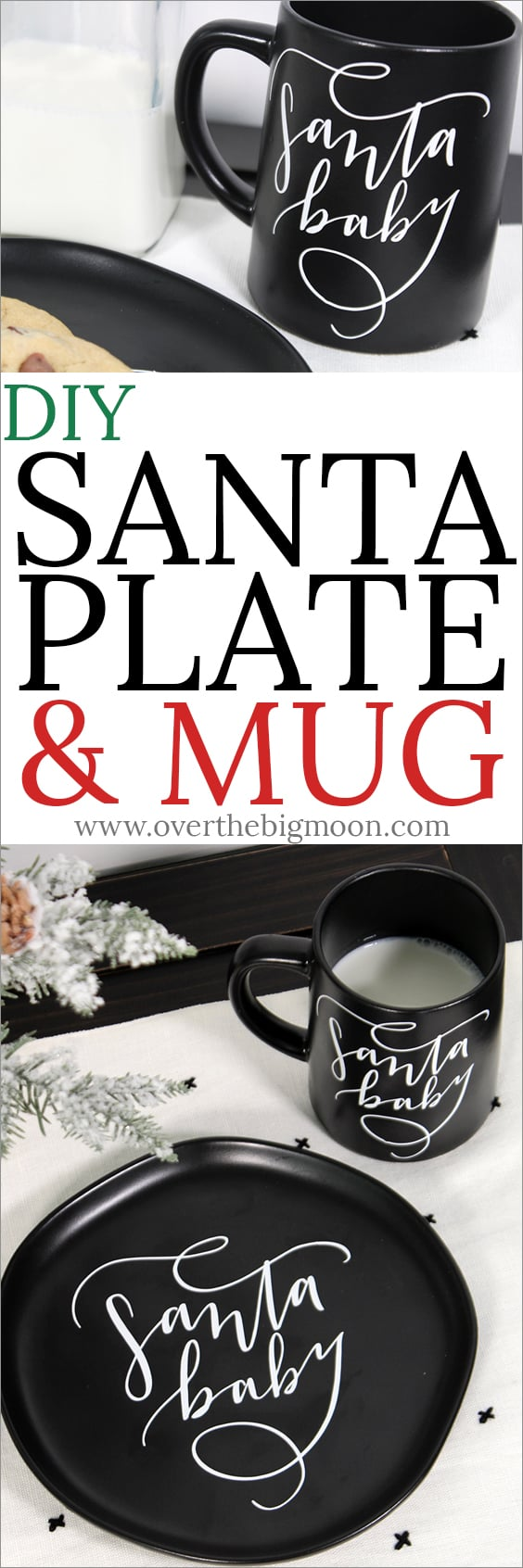DIY Santa Plate & Mug - purchase your favorite plate and mug and customize it for Santa! Tutorial and cut file at overthebigmoon.com!