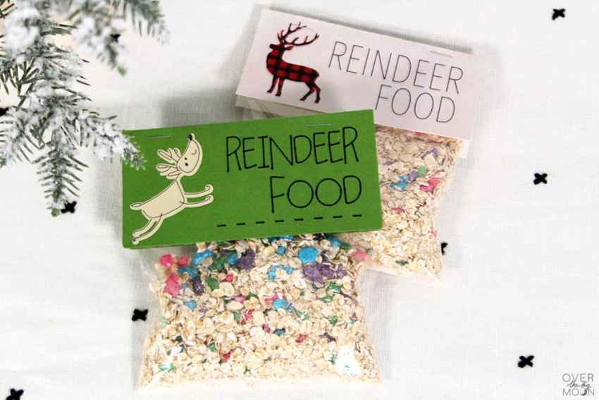 Magic Reindeer Food for Santa's reindeer! Put it next to Santa's milk and cookies on Christmas Eve! With a printable bag topper OR a Cricut Design Space Bag Topper! From overthebigmoon.com!