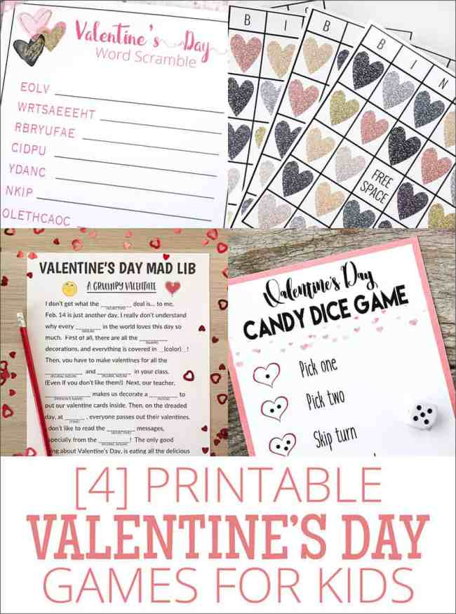 4 fun Printable Valentine's Day Printable games! overthebigmoon.com!