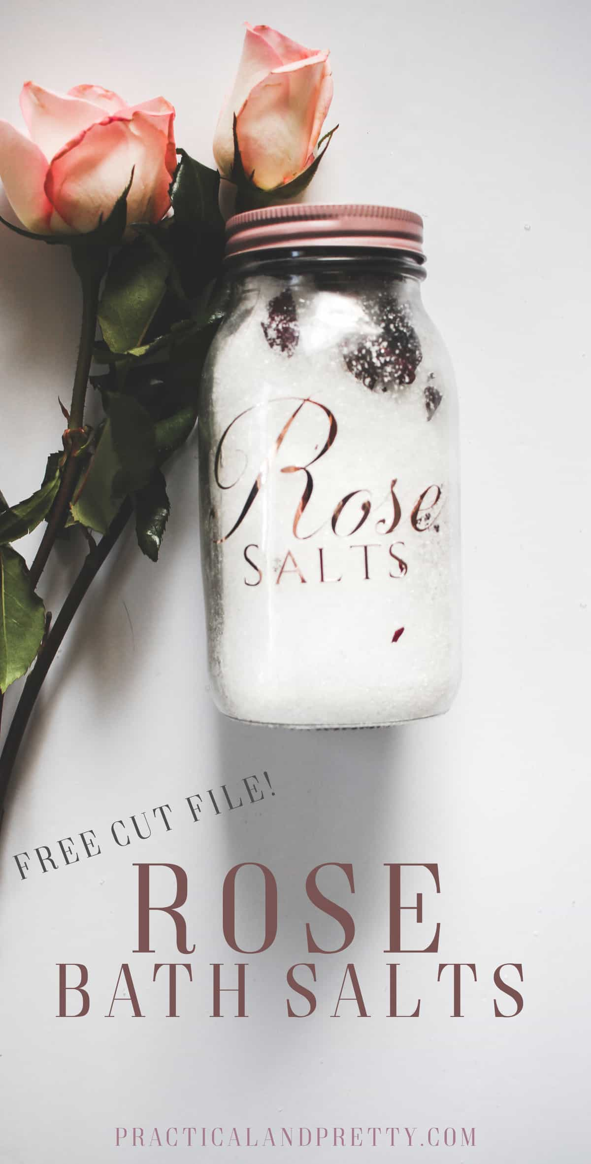 This is such a beautiful addition to your bath routine. DIY Rose bath salts recipe AND free file to cut with your Cricut!